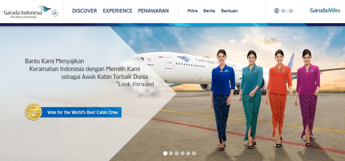 Tampilan halaman utama website Garuda Indonesia