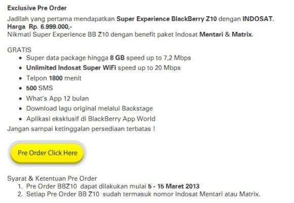 Harga BlackBerry Z10 Indosat