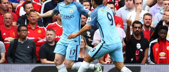 Pemain Man City Rayakan Gol Saat Melawan Man United
