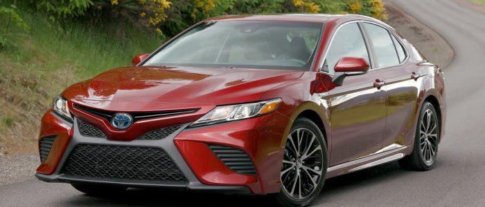 Red Toyota Camry Hybrid 2018
